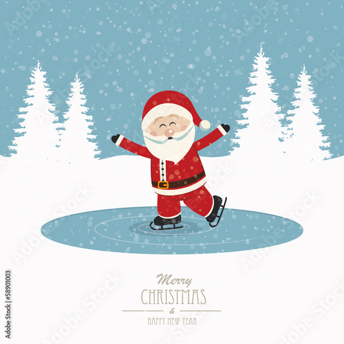 santa skate on ice snowy winter background
