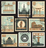 set of stamps from different countries with landmarks