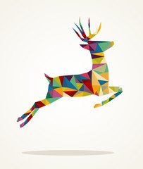 Merry Christmas contemporary triangle reindeer greeting card