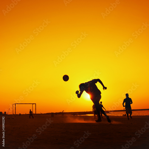 Football at Jumeira beach in Dubai