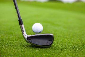 Golf stick and ball on green grass