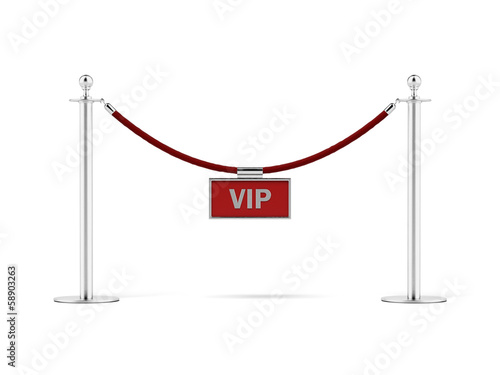 rope barrier with a vip sign