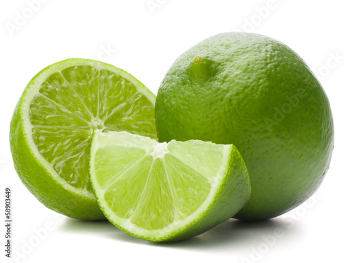Citrus lime fruit isolated on white background cutout © Natika