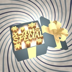 vintage christmas gift box with christmas special icon
