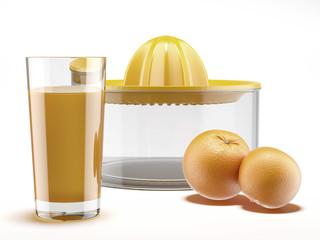 Orange juice and juicer