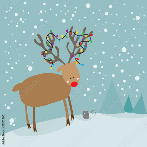 Cute red nosed reindeer and christmas mouse