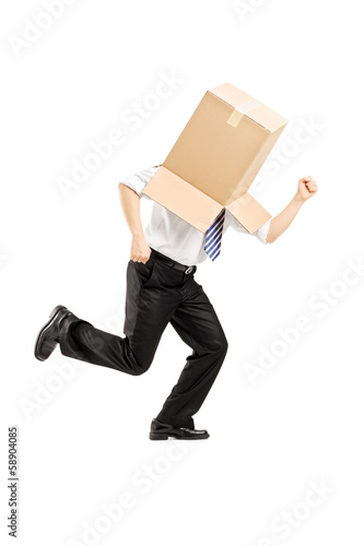 Guy with a cardboard box on his head running away