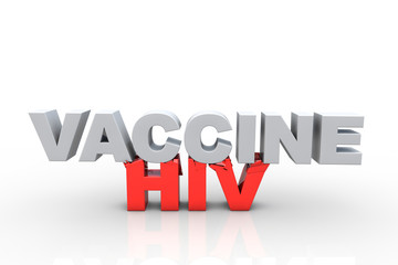 3d vaccine text breaking HIV text - Fight HIV concept