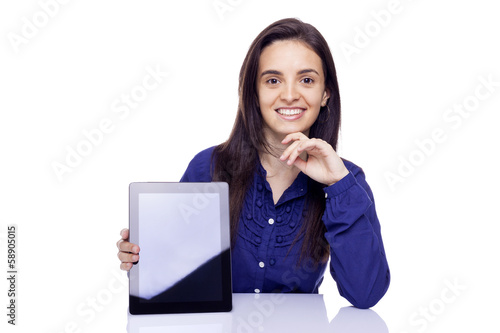 Business woman holding a tablet computer, isolated over a white