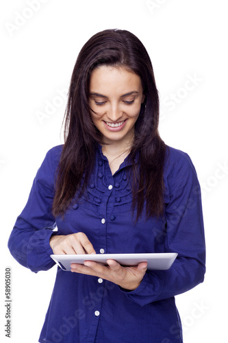 Smiling woman with tablet computer isolated on white background