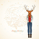 Winter card, Fashion deer on the village