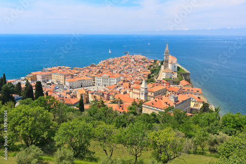 A view of the old coastal city Piran center from the town walls