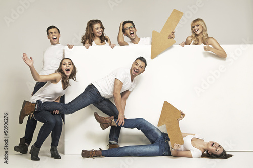 Group of friends having good time