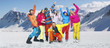 Smiling snowboarders in funny poses