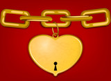 Beautiful gold heart with chain on a red background