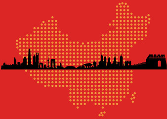 China Map Skyline