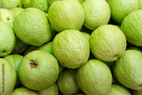 Green guavas close up