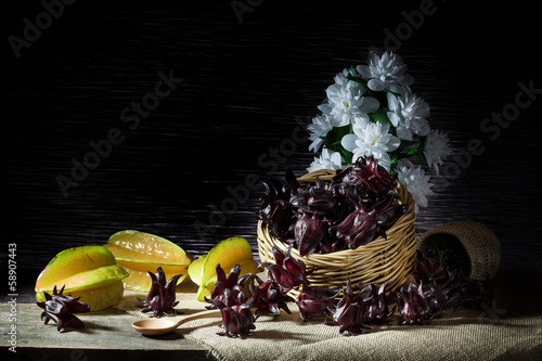 Basket of Star fruit and roselle