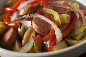 savory sausage and peppers dish