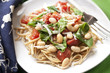 Vegetarian White Beans, Spinach and Tomatoes over Linguine