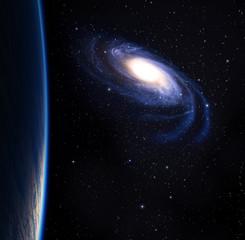 Blue planet with big beautiful galaxy.