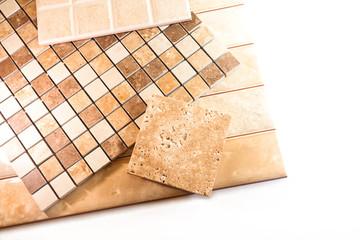 Ceramic tiles for tiling on a white background