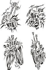stylized music emblems - percussion