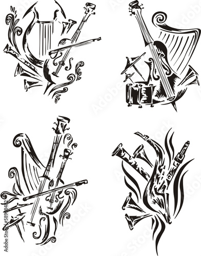stylized music emblems - symphony
