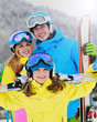 Ski, winter - young skiers enjoying ski vacations