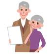 書類をみるシニアの夫婦