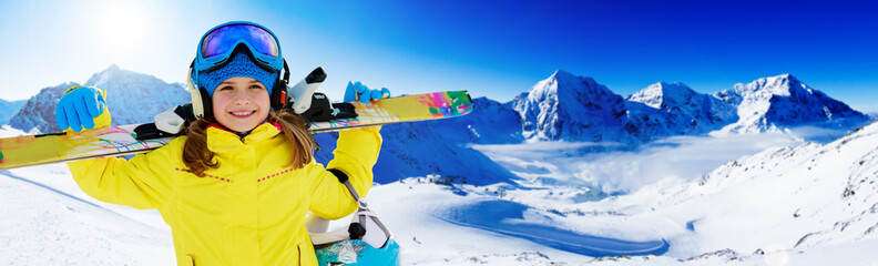 Skiing, winter, ski billboard, skier girl