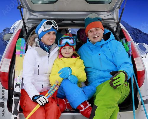 Winter, ski, journey - family with ski equipment