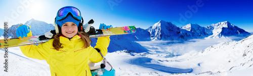 Papiers peints Glisse hiver Skiing, winter, ski billboard, skier girl
