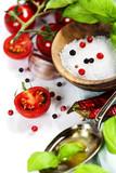fresh tomatoes, olive oil  and basil - 58909041
