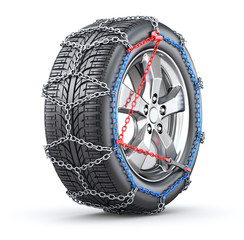 Tire with snow chain