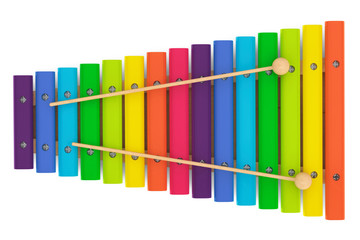 Colorful wooden xylophone with mallets