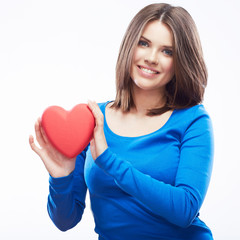 Smiling young woman hold red heart, Valentine day symbol. Girl