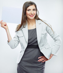 Business woman hold banner, white background isolated portrait.