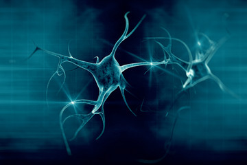 3D illustration of a neuron in beautiful background