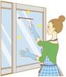 窓拭きするママ
