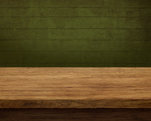 Old wooden table with dark background
