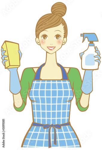 掃除するママ