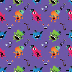 Hipster Monster Seamless Pattern . Vector Illustration