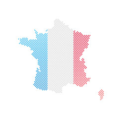 Frankreich Flagge Karte Punkte