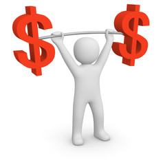 3d man holding barbell with dollar signs