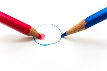 赤と青の円