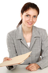 Woman in business giving job application