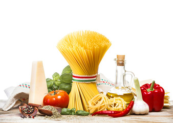 Healthy ingredients for Italian spaghetti
