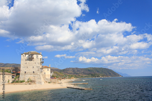 Old tower, Ouranoupoli, Athos peninsula, Greece.