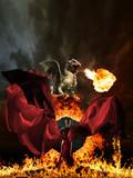 Glamour woman and dragon